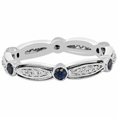 Blue Sapphire Round Diamond Fashion Cocktail White Gold Band Ring