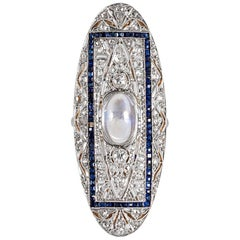Edwardian Moonstone, Diamond and Sapphire Plaque Ring