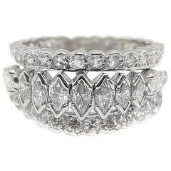 Marquis and Round Cut Diamond Platinum Band Ring