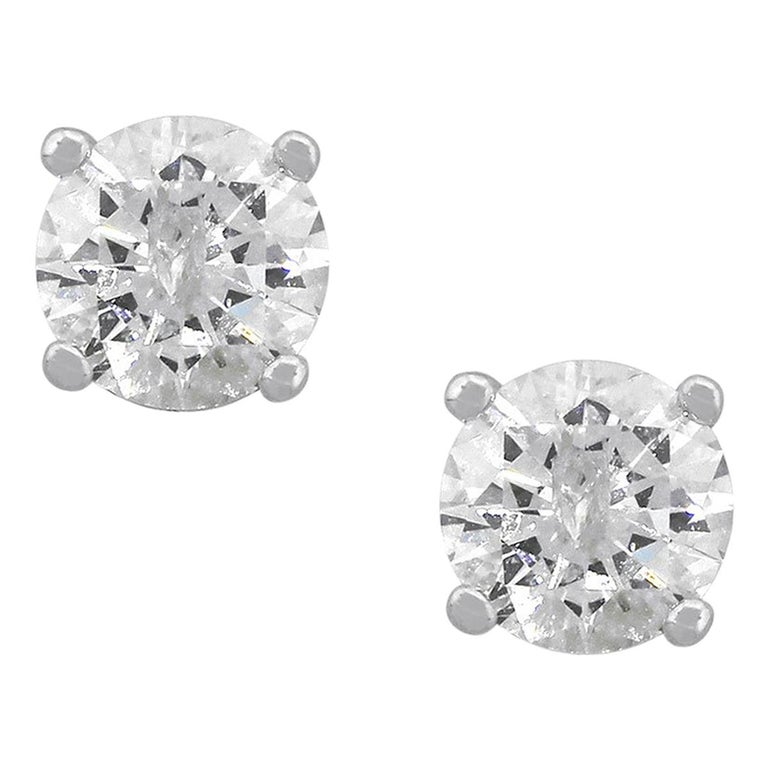 Round Brilliant Diamond Stud Earrings For Sale