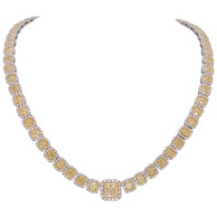 Custom Platinum 43.87 Carat Natural Canary Yellow Diamond Halo Princess Necklace