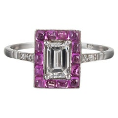 Art Deco Style Diamond and Pink Spinel Ring