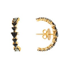18 Karat Rose Gold & 1.30 Carat Black Diamonds Curve Earrings by Alessa Jewelry