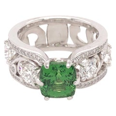 Cushion Cut Green Tsavorite and Diamond White Gold Floral Motif Ring