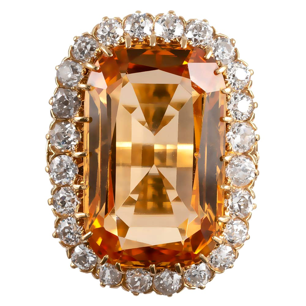 Antique Topaz and Diamond Cluster Ring