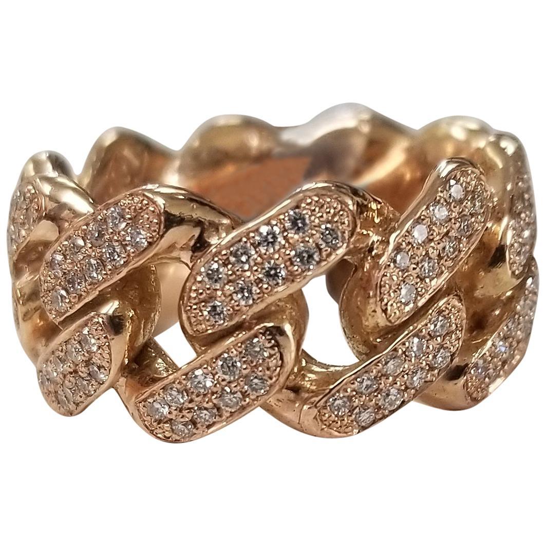 14 Karat Rose Gold Diamond Pave' Link Eternity Ring