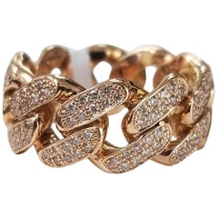 14 Karat Rose Gold Diamond Pave' Link Ring