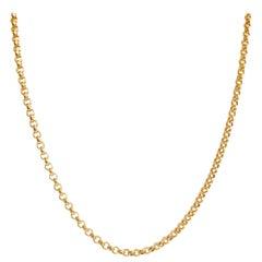 18 Karat Yellow Gold Rollo Belcher Chain Necklace