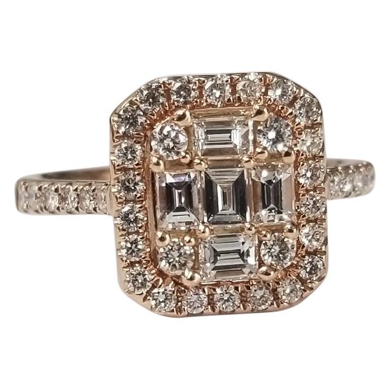 14 Karat Rose Gold Diamond Solitaire Halo Style Ring
