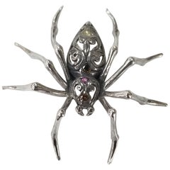 "Sterling Silver ""Spider"" Pin with Colored Diamonds"