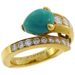 Cartier Turquoise Diamond Yellow Gold Snake Ring 1980s