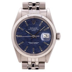 Rolex Oyster Perpetual Date Ref 1500 Blue Brick Dial Stainless Steel, circa 1970