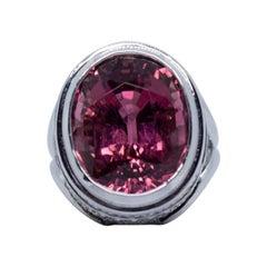 Estate 18 Karat White Gold 5.00 Carat Pink Tourmaline and Diamond Fashion Ring