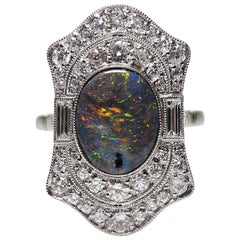 Platinum Estate Black Opal and Diamond Art Deco Style Ring