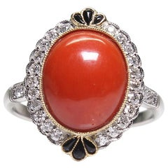 Estate Platinum Diamond, Coral and Onyx Victorian Style Ring