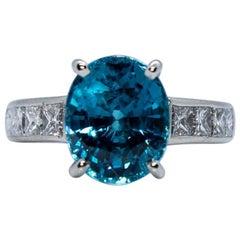 Estate Platinum Round Blue Zircon and Diamond Princess Cut Fashion Ring
