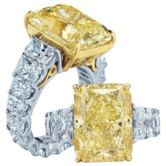 5 Carat GIA Radiant Cut Fancy Yellow Diamond 950 Platinum Ring