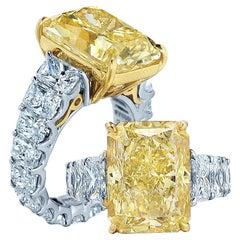 7 Carat GIA Radiant Cut Fancy Yellow Diamond 950 Platinum Ring