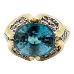 Estate 14 Karat Yellow Gold 5.00 Carat Blue Zircon and Diamond Ring
