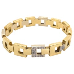Pomellato 18 Karat Yellow Gold & White Gold Square Link Diamond Bracelet