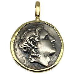 Georgios Collections 18 Karat Yellow Gold and Silver Coin Pendant of Alexandros