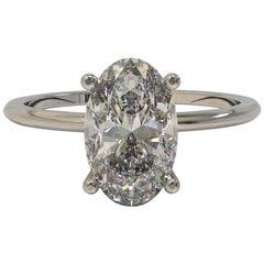 Kian Design Platinum 1.33 Carat Oval Cut Solitaire Moissanite Engagement Ring