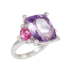 Amethyst Pink Topaz & Diamond Ring 18 Carat White Gold