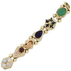 14 Karat Yellow Gold Multi Gemstone Slide Bracelet