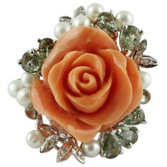 Coral Flower, Diamonds, Sapphires, Pearls, 14k White and Rose Gold Ring