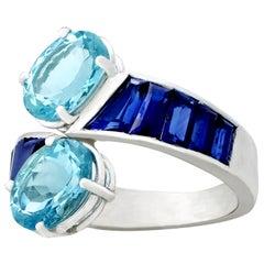 Vintage 3.22 Carat Aquamarine 2.05 Carat Sapphire Platinum Twist Ring