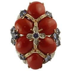 Corals, Tanzanite, Diamonds 14 Karat White and Rose Gold Ring