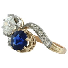 Antique French 1.55Ct Sapphire and 1.34Ct Diamond Yellow Gold Twist Ring
