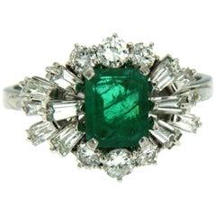 Vintage 1.80 Carat Colombian Emerald Diamond Gold Ring