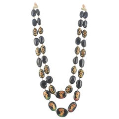 1553 Carat of Natural Burma, Mughal Hand Painted Blue Sapphire Bead Necklace