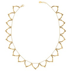 Neclace Sterling Silver Gold-Plated Lotus Shaped Motif Greek 18k Gold Chain