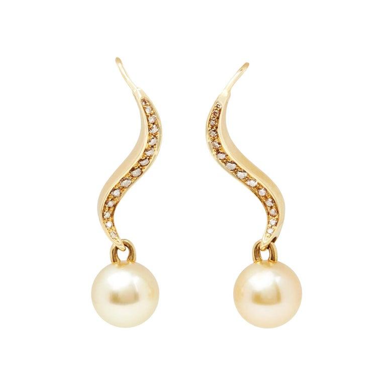 Mikimoto 18 Karat Yellow Gold Akoya Pearl & Diamond Drop Earrings For Sale