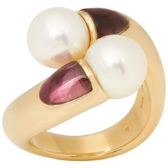 Mikimoto 18 Karat Yellow Gold Akoya Pearl & Tourmaline Cocktail Ring