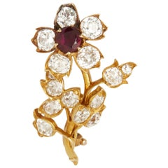 18 Karat Yellow Gold Burmese Ruby & Diamond Vintage Flower Brooch