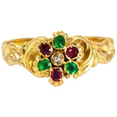 Georgian Emerald Diamond and Ruby 15 Carat Gold Locket Back Ring