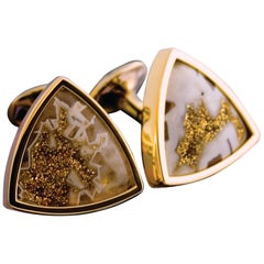 Tateossian Cufflinks Gold Valley Drusy (26.80ct) & Yellow Gold