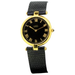"""Cartier Ladies """"Vermeil"""" Gold-Plated and Sterling Silver Quartz Wristwatch 1990s"""