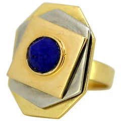 Piero Dorazio, 18 Karat Gold Ladies Ring with Natural Lapis Lazuli
