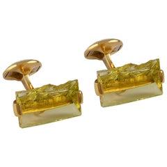 Tateossian Cufflinks Lemon Quartz Natural Side '22.85 Carat' and 18 Karat Gold