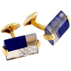 Tateossian Fusion of Precious Stones and 18 Karat Yellow Gold Cufflinks