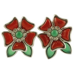 Diamonds, Green Agate, Red Rubrum Coral 14 Karat White Gold Earrings