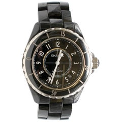 Chanel Black and Silver J12 Automatic Watch