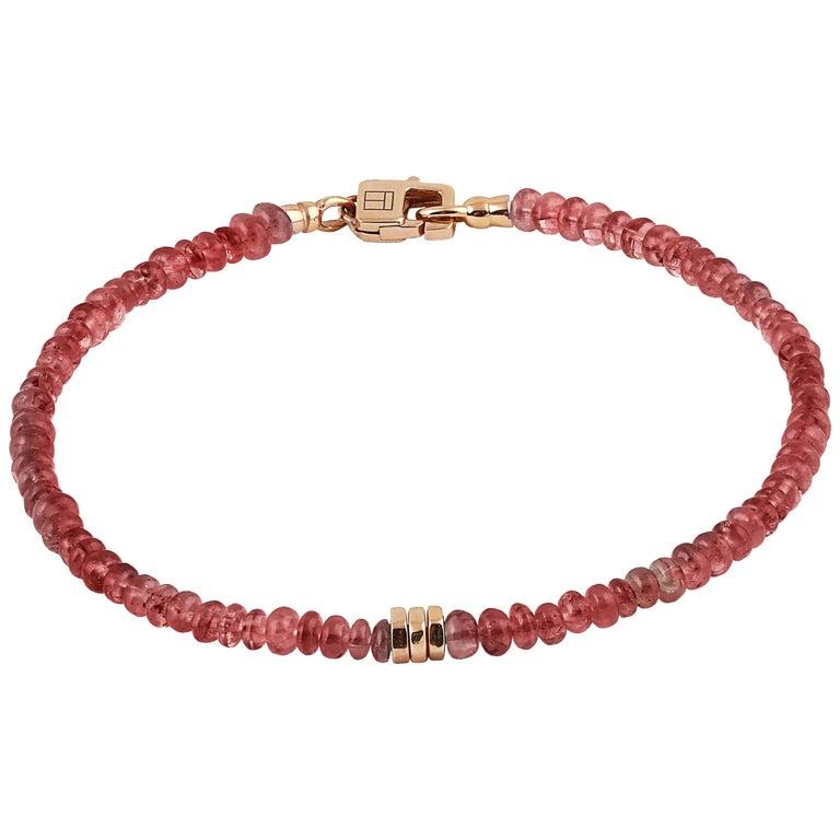 Tateossian Precious Stone Beaded Bracelet - Ruby & 18 Karat Gold For Sale