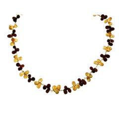 Estate Garnet Citrine Gold Necklace