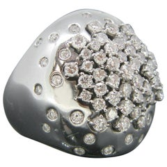 Contemporary Damiani Paradise Collection Paved White Gold Diamond Dome Ring