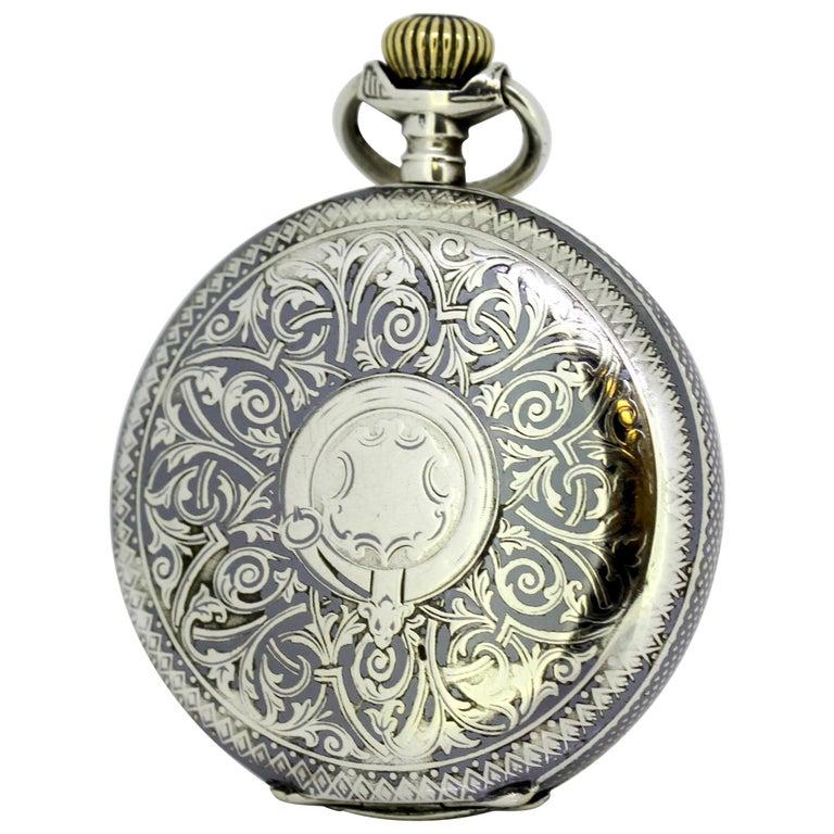 Omega, Gurzelen Silver Nielo Pocketwatch Russian Retailer, Switzerland, 1895